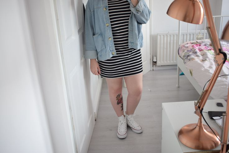 Forever21 Stripey Patch Dress with Topshop Denim Jacket and White Converse | www.georgiaanne.co.uk