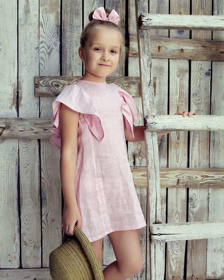 Vestido de festa para meninas em linho, Vestido de festa para meninas, Vestido de ocasião para menina, Vestidos de festa para meninas, Vestido de linho, Vestido para menina, Vestido para meninas cor de rosa   – Kids fashion