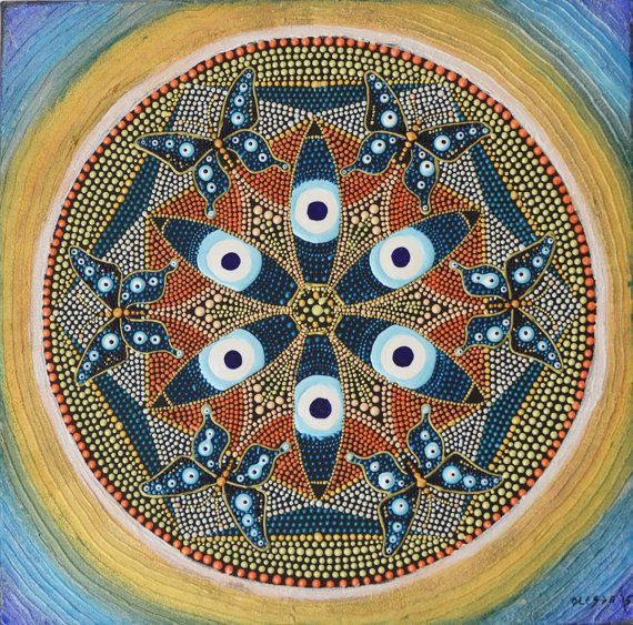 Originele Dot Butterfly boze oog Mandala met Mandala Dotillism, bescherming Mandala, mystieke symbolen kunst, heilige geometrie Mandala schilderen
