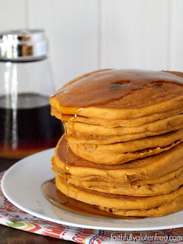 Weekends scream for a stack of gluten free Pumpkin Pancakes from Faithfully Gluten Free