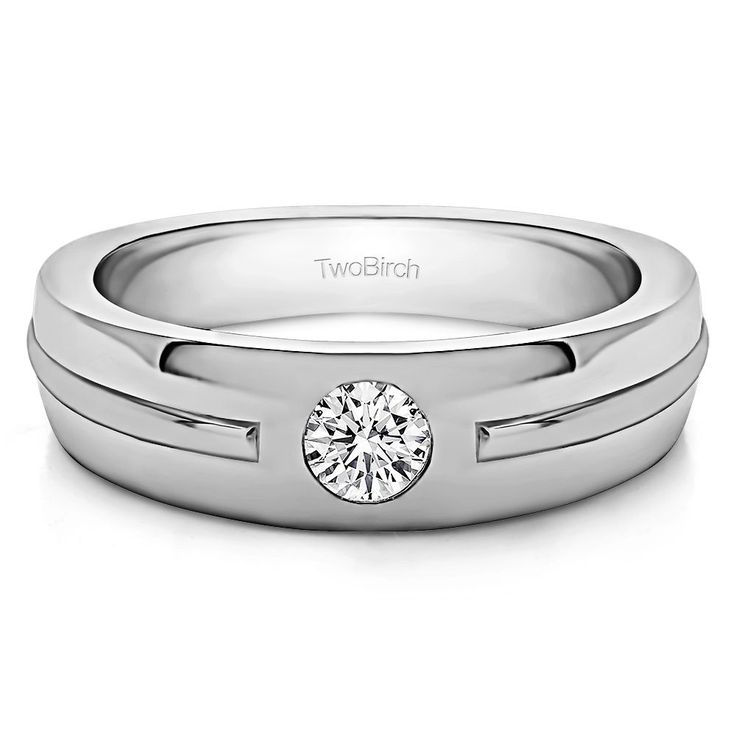14k White Gold Solitaire Mens Fashion Ring Or Mens Wedding Ring With Diamonds (G-H,I2-I3) (0.2 Cts., G-H, I2-I3) (14k Yellow Gold, Size 5.5), Men's (solid)