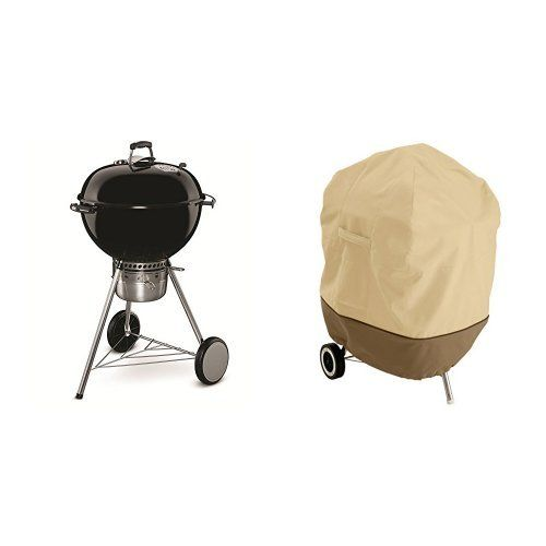 Weber 14501001 Master-Touch Charcoal Grill, 22-Inch, Black with Classic Accessories Cover -- Click image to review more details.