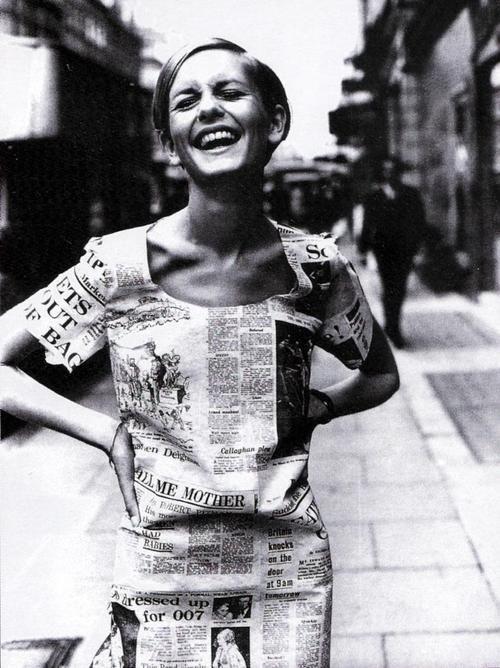 Twiggy in a paper dress in London, 30 June 1967.