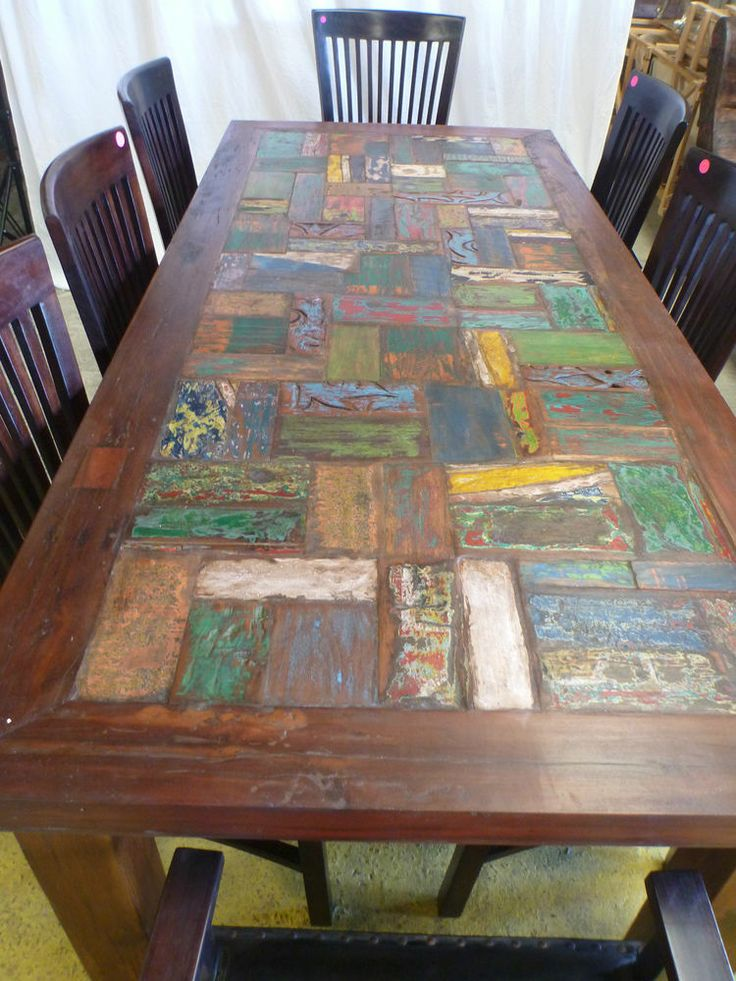 Balinese Recycled Timber Wooden Large Dining Room Table Rustic Antique