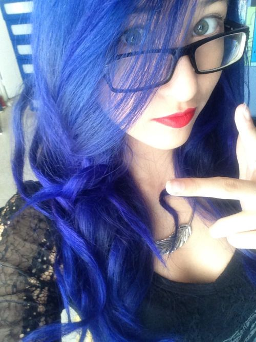 "dyehappyhaircolor: "" Hi, I'm Centipenis and I recently dyed my hair with Manic Panic's ""Shocking Blue"". I think it looks really nice :$ "" We think so, too!"