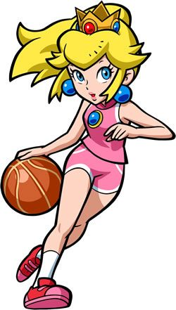 #Peach showing her #basketball prowess. More info on Mario Hoops 3 on 3 for #DS at http://www.superluigibros.com/mario-hoops-3-on-3
