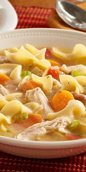 Classic leftover turkey soup recipe made quickly with frozen vegetables and noodles for enjoying the leftover turkey.:
