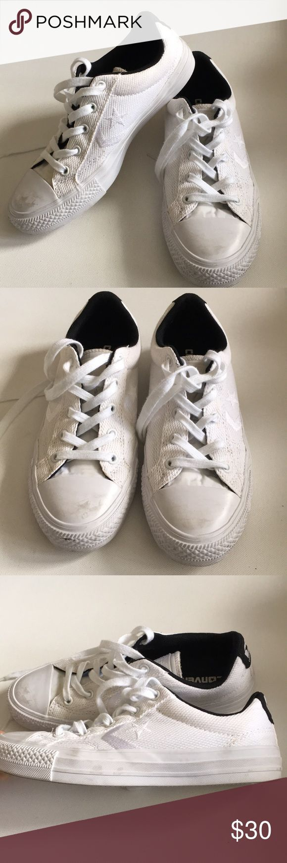 "Converse All Star Ox White sneakers Men's 4.5 6.5W Converse white sneakers style 147391C unisex shoes. Sz 4.5 Men's and labeled as 6.5 Women's but fit like a 7. Used a few times only. See ALL pictures for scuffs, markings, and signs of wear. Outsole measures 10.25"" inches from toe to heel. Converse Shoes Sneakers"