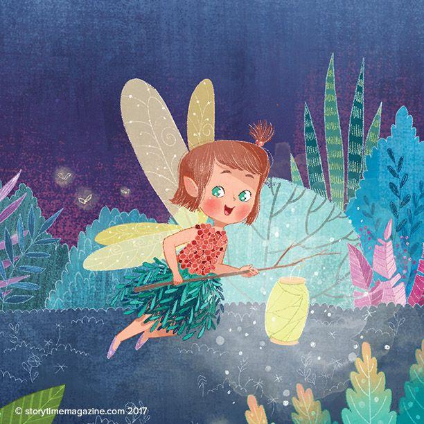 Moonlit fairies in our Welsh folk tale, Elidor and the Golden Ball in Storytime Issue 30! Art by Nina De Polonia (https://www.behance.net/ninyanernel) ~ STORYTIMEMAGAZINE.COM