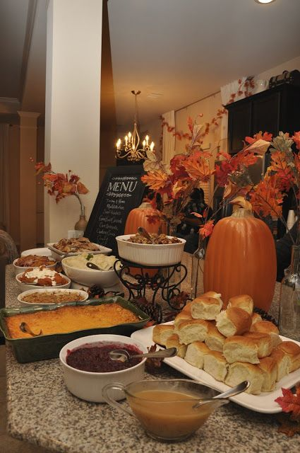 And seek to show hospitality. Thanksgiving dinner buffet. Write menu on chalkboard use height to add dimension to the set up!