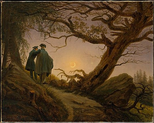 Two Men Contemplating the Moon - 1825-30.   Caspar David Friedrich / The two men contemplating the sinking moon have been identified as Friedrich himself, on the right, and his talented young colleague August Heinrich (1794-1822). The mood of pious contemplation relates to fascination with the moon as expressed in contemporary poetry, literature, philosophy, and music.