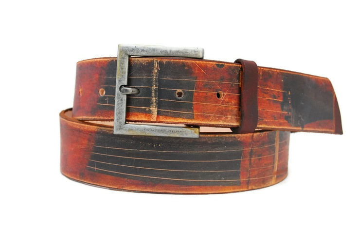 Handmade leather belt -  CELLO / Brown belt / Gift for him / her