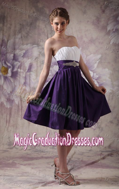 Beading and Ruches White and Purple Sweetheart Grad Dress in Satipo Peru