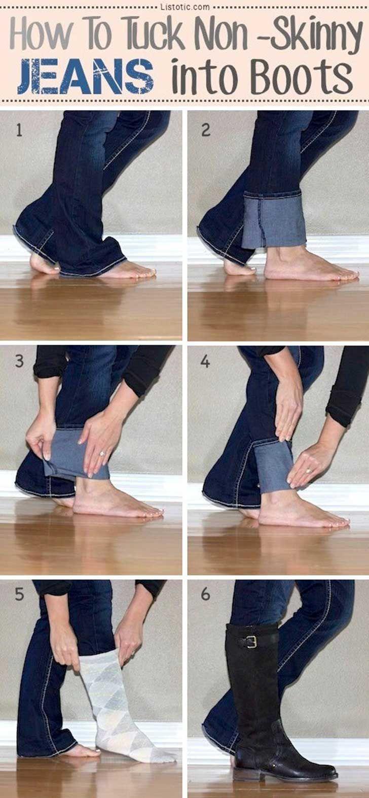 Cómo doblar pantalones para meter en las botas