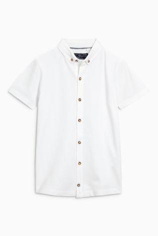 White Pique Short Sleeve Shirt (3-16yrs)