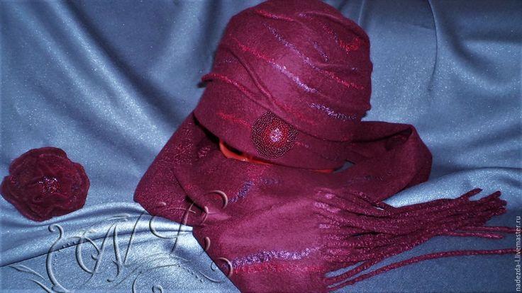 """Купить Валяный комплект """" Ягодный Микс.. !!! """" (шапка +шарф..) - бордовый"""