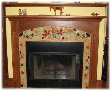 Leaf And Frog Ceramic Tile Fireplace Not My Style Of But Great Example Surround On Zero Clearance With Perfect Wood Mantel Su