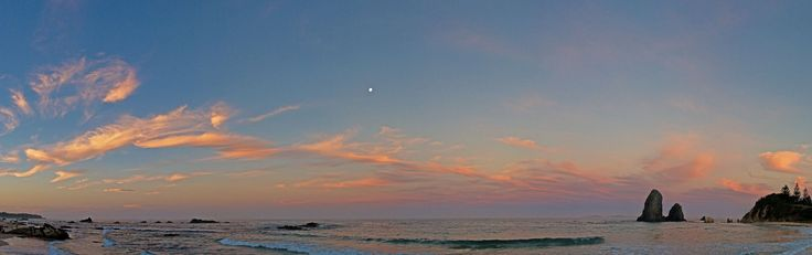 Sunset over Glasshouse Rocks beach with full moon. Panorama stitched together in Photoshop Elements