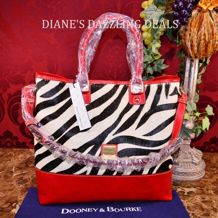 Dooney & Bourke NWT Chelsea Shopper RARE ZEBRA fur Leather Purse Red FABULOUS