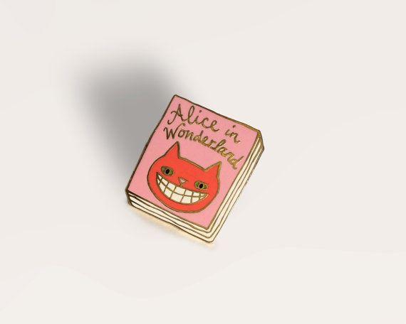 Book Badge Pin: Alice in Wonderland by janemount on Etsy