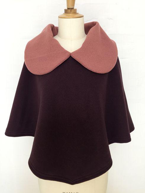 cape femme col croisé noeud laine cachemire liberty mode vintage carreaux hiver couture création british vieux rose