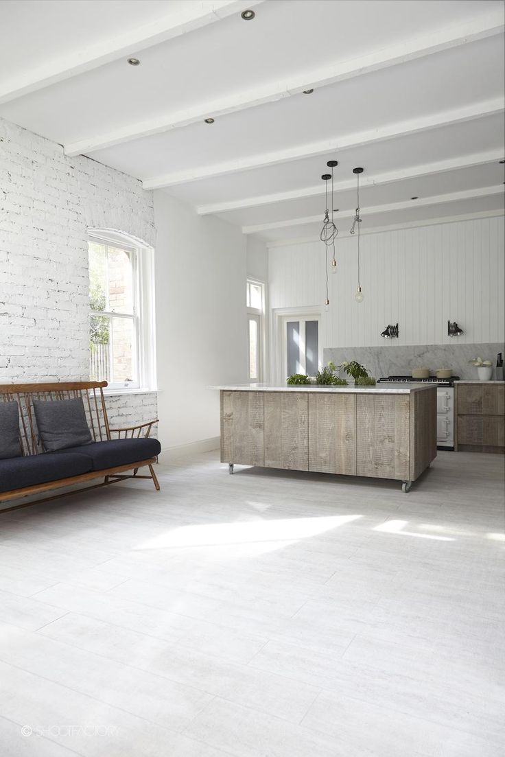 Rustic Industrial Kitchen Panelled Marble Work Surface Metro Tiles Exposed Brick