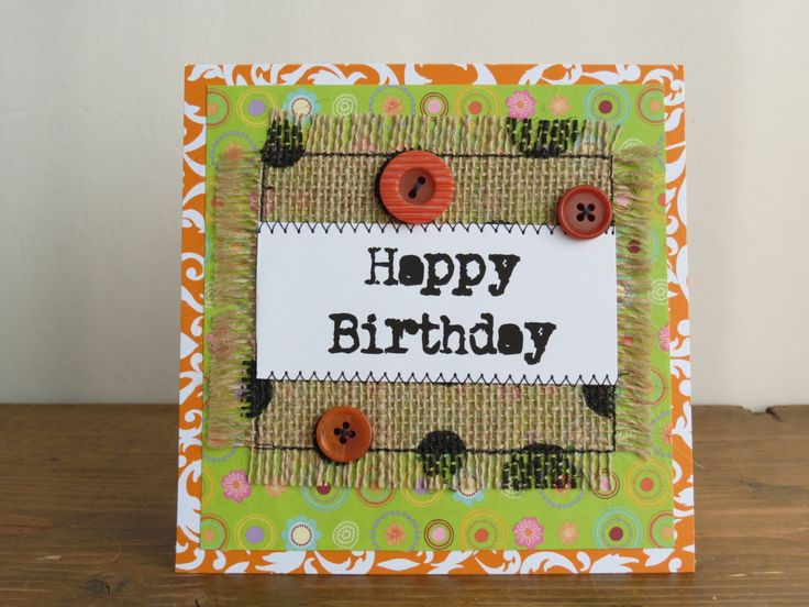 Quilted Burlap Birthday Card, Handmade Burlap Card, Mixed Media Card - pinned by pin4etsy.com