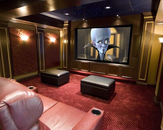 73 best theater rooms images on pinterest home theaters for Small theater room ideas