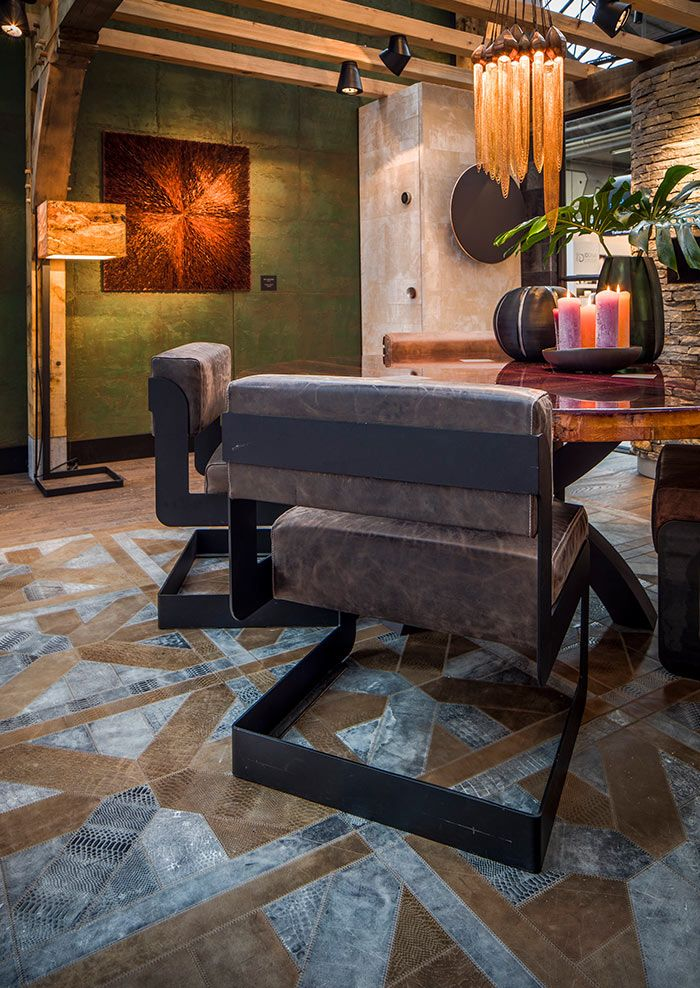 Big Steel Chair & custom-made leather carpet