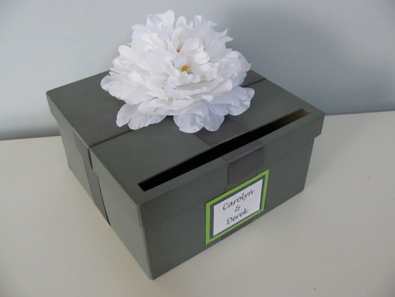 Items Similar To Card Box Bridal Shower Engagement Anniversary Wedding With Personalized Tag You Can Customize Colors And Flowers Small 9 Inch On