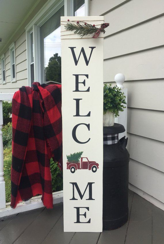 Welcome Sign Porch Sign Vintage Truck Sign Red Truck Winter Sign Winter Welcome Sign Christmas W Christmas Porch Decor Christmas Porch Outdoor Christmas