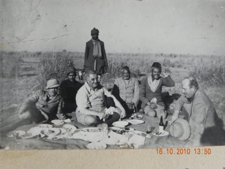 A very rare photograph of Jim Corbett, Capt Feddy Young & Col Wood having lunch after a duck shoot in the Ganga Khadar of distt Bijnor, photo taken during the period when Sultana was being hunted down.. (family collection ....jalilpur bijnor)