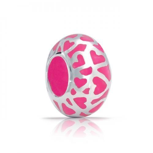 925 Silver Pink Enamel Valentine Open Heart Pandora Style Bead Charm