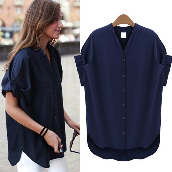 Leisure Stand Collar Plus Size Chiffon Short Sleeve Blouse