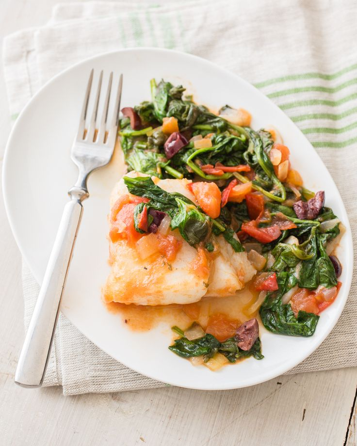 833 best food group protein foods images on pinterest cod fillets are pan fried until golden brown and mixed with a rich tomato and spinach sauce for an easy seafood dish top with olives and serve with a forumfinder Images