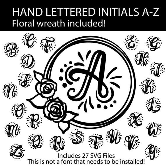 A-Z hand lettered Initials svg cut file by ChameleonCuttables