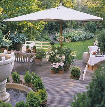 Create a Backyard Getaway: Create Shady Spots.   Even sun worshippers welcome a little shade. You'll enjoy your deck or patio more if you can provide relief from the sun. Choices for providing shade include mature trees,  umbrellas, retractable awnings, or even pergolas and arbors planted with vines.