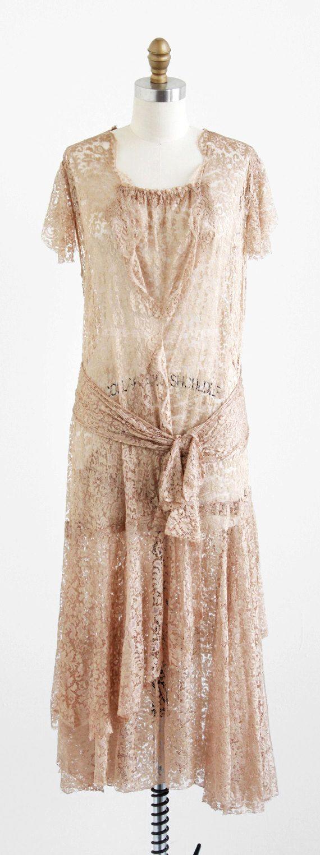 vintage 1920s champagne silk lace flapper dress.