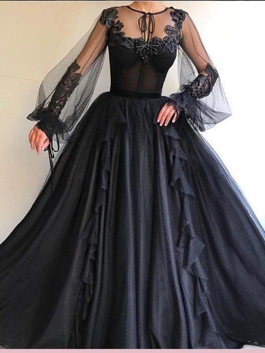 Schwarzes Langarm Abiballkleid A-Linie Scoop Tüll Abendkleider AMY2652