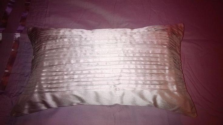 Pin-tucked silk cushion