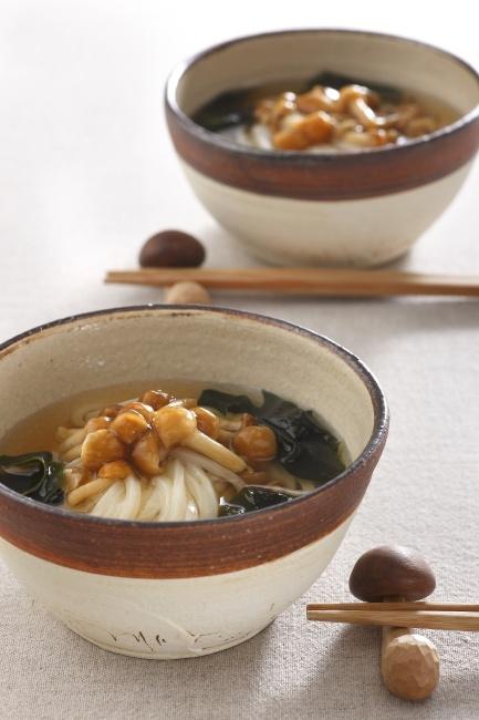Japanese Nameko Mushroom Udon Noodles Soup なめこうどん