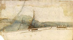 RLW 12680. - Bird's-eye view of the ferryboat and a dam on the Arno, at the Rotta, c. 1503.