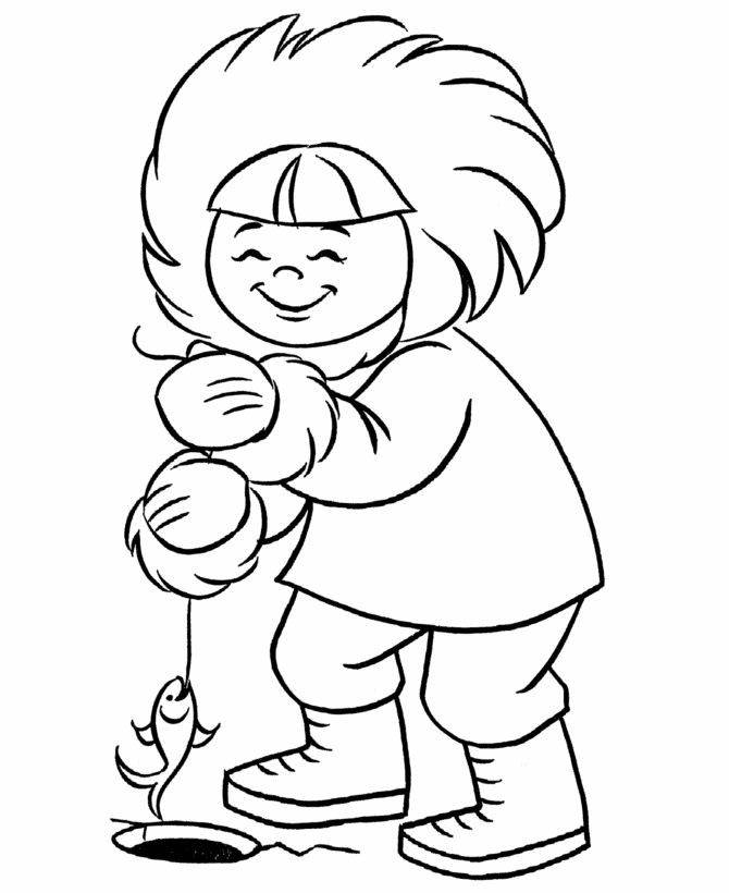 Pre-K Coloring pages | Eskimo ice fishing