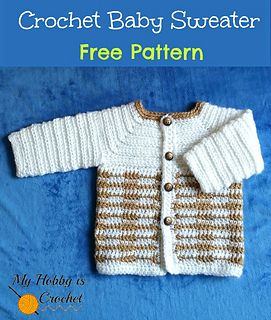 This cute crochet baby sweater was designed for a baby boy, but if you would change the colors, place the buttonholes on the other side and add a cute applique, you'll have a sweet little sweater for baby girls.