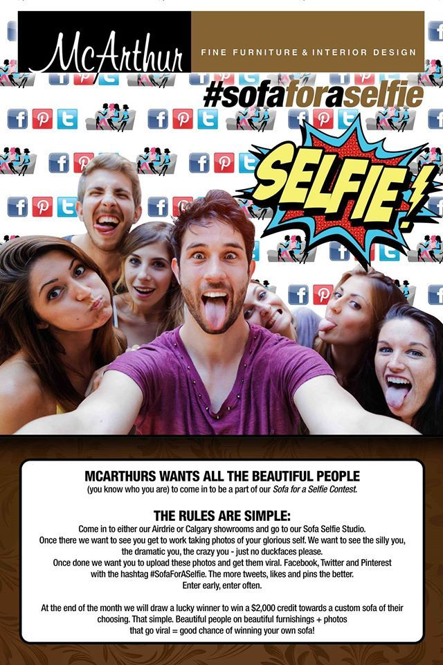 Get a #SofaForASelfie, yes that's right starting tomorrow we're giving away a #SofaForASelfie! Visit one of our two locations in Calgary and Airdrie and take a selfie on the #SofaForASelfie then Facebook, Twitter, Pinterest and/or Instagram with the hashtag #SofaForASelfie! For more chances to win, enter early enter often! This is gonna be fun!! No duck faces please #YYC #Calgary #Airdrie