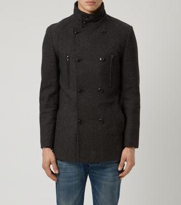 Dark Grey Wool Mix Military Coat