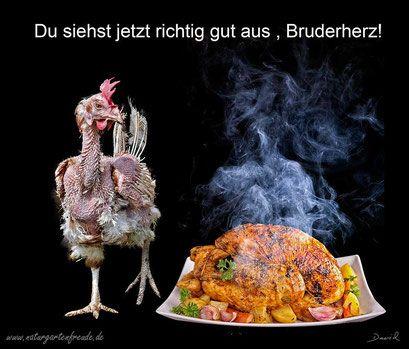 Fotomontage Gefängnis Batteriehuhn Massentierhaltung gebratenes Huhn  photomontage battery hen  factory farming fried chicken