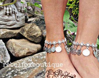 Coachella Boho Chic istruzione bohemien bracciale Gypsy turco moneta tribali gioielli Beach cavigliera