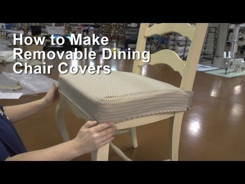 EXCELLENT VIDEO!  Just follow the video and you're good.  One yard of fabric should make 2 chair covers; How to Make Removable Dining Chair Covers - YouTube