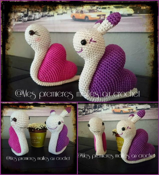 DIY Crochet Snail Amigurumi Free Patterns - Crochet Valentine Heart Snails  #Crochet, #Toy